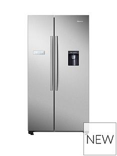 Hisense RS741N4WC11 90cm Wide, Total No Frost American-Style Fridge Freezer with Non-Plumbed Water Dispenser - Stainless Steel Best Price, Cheapest Prices