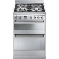 Smeg SUK62MX8 Concert 60cm Double Oven Dual Fuel Cooker - Stainless Steel Best Price, Cheapest Prices