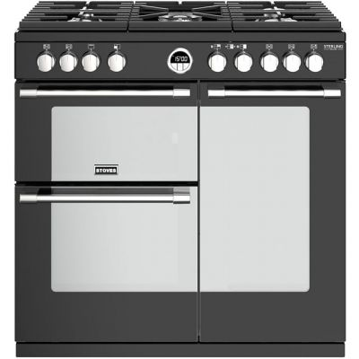 Stoves Sterling Deluxe S900G 90cm Gas Range Cooker - Black - A/A Rated Best Price, Cheapest Prices