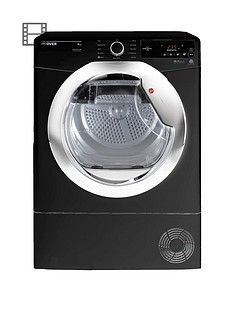 Hoover Dynamic Next DXC8TCEB 8kgLoad, Aquavision Condenser Tumble Dryer with One Touch - Black/Chrome Best Price, Cheapest Prices