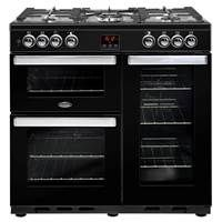 Belling Cookcentre 90DFT 90cm Dual Fuel Range Cooker in Black 444444071 Best Price, Cheapest Prices