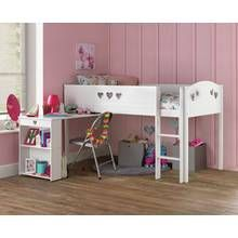 Argos Home Mia White Mid Sleeper Bed Frame with Desk Best Price, Cheapest Prices