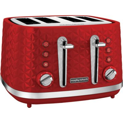 Morphy Richards Vector 248133 4 Slice Toaster - Red Best Price, Cheapest Prices
