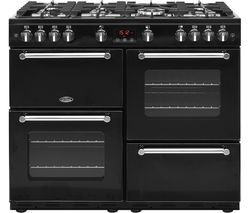 BELLING Kensington 100G Gas Range Cooker - Black & Chrome Best Price, Cheapest Prices