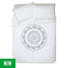 Argos Home Medallion Embroidered Bedding Set - Double Best Price, Cheapest Prices