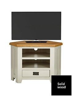 Luxe Collection - Oakland Painted 100% Solid Wood Ready Assembled Corner TV Unit - fits up to 40 Inch TV Best Price, Cheapest Prices