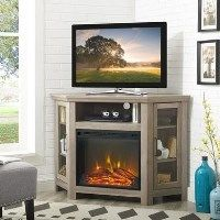 Limewash Wood Corner TV Unit with Electric Fire Insert & Storage Cupboards Best Price, Cheapest Prices