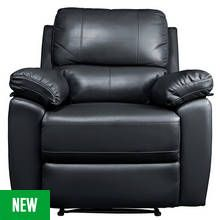 Argos Home Toby Faux Leather Manual Recliner Chair - Black Best Price, Cheapest Prices