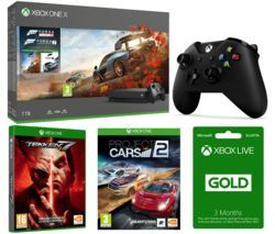 MICROSOFT Xbox One X, Forza Horizon 4, Forza Motorsport 7, Tekken 7, Project Cars 2, 3 Months LIVE Gold & Wireless Controller Bundle Best Price, Cheapest Prices