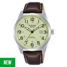 Pulsar Men's Brown Leather Strap Solar Watch Best Price, Cheapest Prices