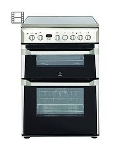 Indesit ID60C2XS 60cm Double Oven Electric Cooker with Ceramic Hob - Stainless Steel Best Price, Cheapest Prices