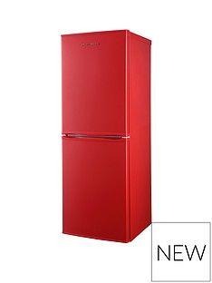 Russell Hobbs Red 50cm Wide 144cm High Freestanding Fridge Freezer Best Price, Cheapest Prices