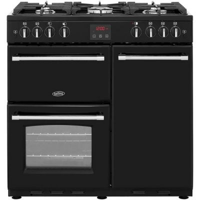 Belling Farmhouse90G 90cm Gas Range Cooker with Electric Fan Oven - Black - B/A Rated Best Price, Cheapest Prices