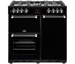 BELLING Kensington 90DFT 90 cm Dual Fuel Range Cooker - Black Best Price, Cheapest Prices