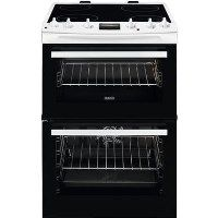Zanussi ZCV66250WA 60cm Double Oven Electric Cooker With Ceramic Hob - White Best Price, Cheapest Prices