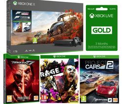 MICROSOFT Xbox One X, Forza Horizon 4, Forza Motorsport 7, Rage 2, Project Cars, Tekken 7 & 3 Months LIVE Gold Bundle Best Price, Cheapest Prices