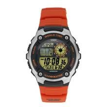 Casio Men's World Time Digital Orange Resin Strap Watch Best Price, Cheapest Prices