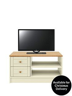 Alderley Ready Assembled Tv Unit - Cream/Oak Effect - Fits Up To 50 Inch Tv Best Price, Cheapest Prices