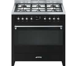 SMEG A1BL-9 90 cm Dual Fuel Range Cooker - Black & Stainless Steel Best Price, Cheapest Prices