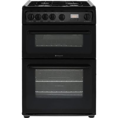 Hotpoint HAG60K 60cm Gas Cooker with Variable Gas Grill - Black Best Price, Cheapest Prices