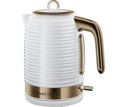 RUSSELL HOBBS Inspire Luxe Jug Kettle - White & Brass Best Price, Cheapest Prices