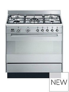 Smeg SUK91MFX9 90cm Wide Concert Stainless Steel Single Cavity Dual Fuel Range Cooker Best Price, Cheapest Prices