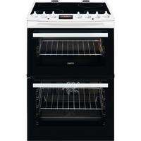 Zanussi ZCV69350WA 60cm Double Oven Electric Cooker With Ceramic Hob - White Best Price, Cheapest Prices