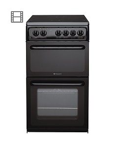 Hotpoint NewstyleHAE51KS 50cm Twin Cavity Electric Cooker - Black Best Price, Cheapest Prices
