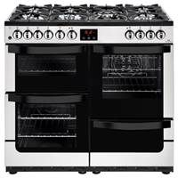 New World Vision 100DFT 100cm Dual Fuel Range Cooker in Stainless Steel Best Price, Cheapest Prices