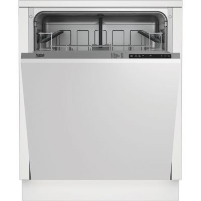 Beko DIN15R10 Fully Integrated Standard Dishwasher - Silver Control Panel with Fixed Door Fixing Kit - A+ Rated