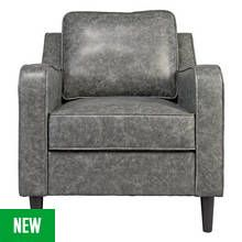 Argos Home Dorian Leather Effect Chair - Grey