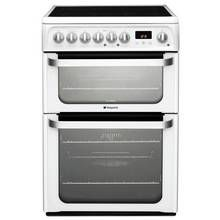 Hotpoint HUE61PS 60cm Double Oven Electric Cooker - White Best Price, Cheapest Prices