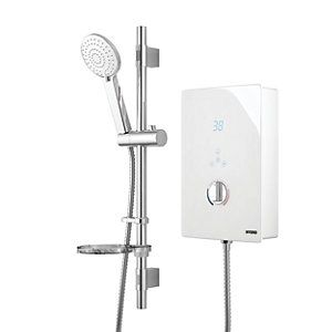 Wickes Hydro LED Lit Touch Control Electric Shower Kit - White/Chrome 8.5kW Best Price, Cheapest Prices