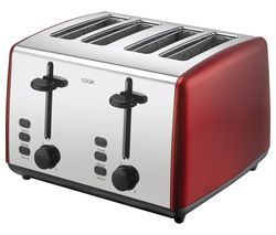 LOGIK L04TR19 4-Slice Toaster - Red & Silver Best Price, Cheapest Prices