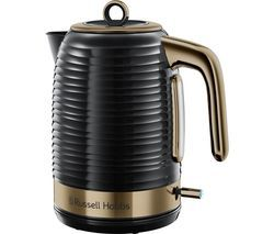 RUSSELL HOBBS Inspire Luxe 24365 Traditional Kettle - Black & Brass Best Price, Cheapest Prices