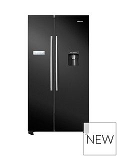 Hisense RS741N4WB11 90cm Wide, Total No Frost, American-Style Fridge Freezer with Non-Plumbed Water Dispenser - Black Best Price, Cheapest Prices