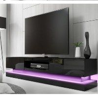Large Black Gloss TV Unit with Lower LED Lighting - Evoque Best Price, Cheapest Prices