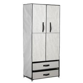 Argos Home Double Metal Framed Fabric Wardrobe - Grey Best Price, Cheapest Prices