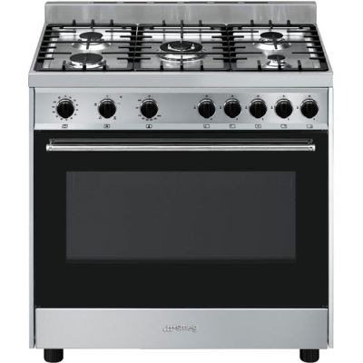 Smeg Cucina B90GVXI9 90cm Gas Range Cooker - Black / Stainless Steel - A Rated Best Price, Cheapest Prices
