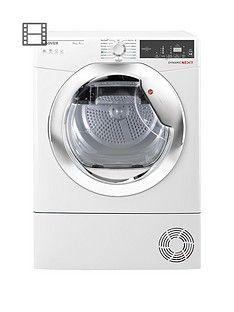 Hoover Dynamic Next DXH9A2TCE 9kg Load, Aquavision, Heat Pump Tumble Dryer with One Touch - White/Chrome Best Price, Cheapest Prices