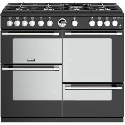 Stoves Sterling Deluxe S1000G 100cm Gas Range Cooker with Electric Grill - Black - A/A/A Rated Best Price, Cheapest Prices