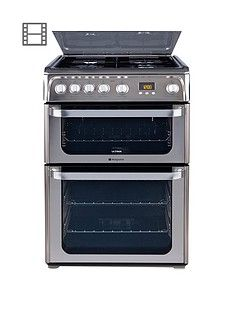 Hotpoint Ultima HUG61X 60cm Double Oven Gas Cooker with FSD - Stainless Steel Best Price, Cheapest Prices