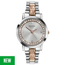 Sekonda Classique Ladies' Rose and Silver Stone Set Watch Best Price, Cheapest Prices