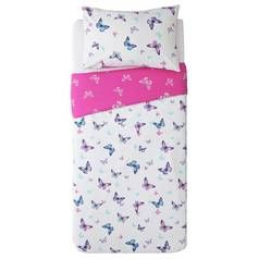Argos Home Reverse Pink Butterfly Bedding Set - Single Best Price, Cheapest Prices
