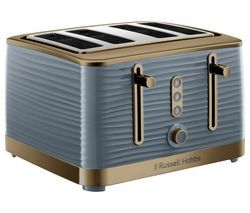 RUSSELL HOBBS Inspire Luxe 24387 4-Slice Toaster - Grey & Brass Best Price, Cheapest Prices