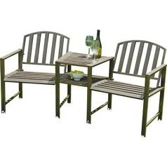 Duo 2 Seater Metal Garden Bench and Table Set Best Price, Cheapest Prices
