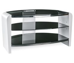 ALPHASON Francium 800 TV Stand - White & Smoked Glass Best Price, Cheapest Prices