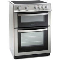 Montpellier MDC600FS 60cm Double Oven Electric Cooker with Ceramic Hob - Silver Best Price, Cheapest Prices