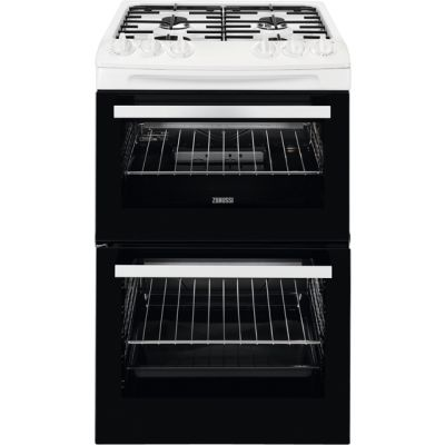 Zanussi ZCG43050WA 55cm Gas Cooker with Full Width Electric Grill - White - A/A Rated Best Price, Cheapest Prices