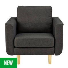 Argos Home Remi Fabric Armchair in a Box - Charcoal